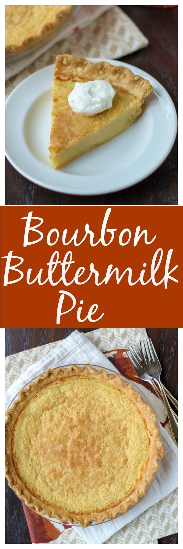 Bourbon Buttermilk Pie. An easy, one-bowl pie recipe that's absolutely delicious! You'll love this sweet take on a Southern classic.