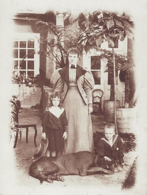 Queen Amelia of Portugal with her sons Mannuel and Luis Filipe in the 1890's