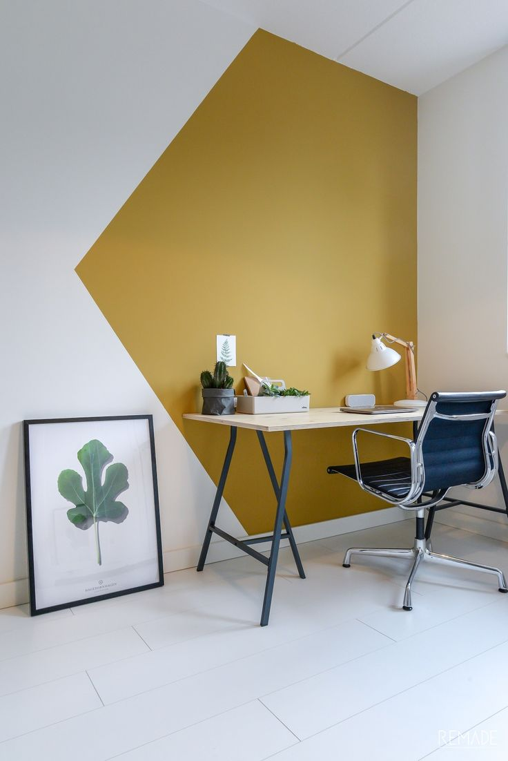 Wand inspiratie | Geometrisch vlak om werkplek af te bakenen