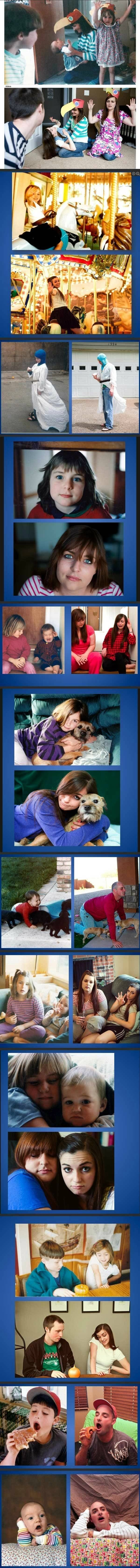 Recreated old family photos! Lol @Ashley Baker   we should totally do this hahaha