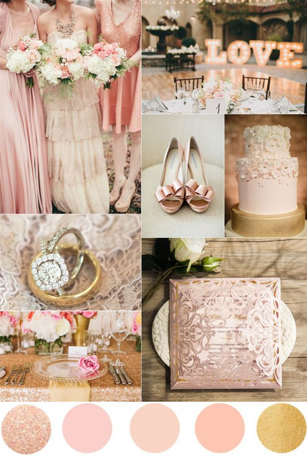 romantic rose pink and gold wedding color ideas