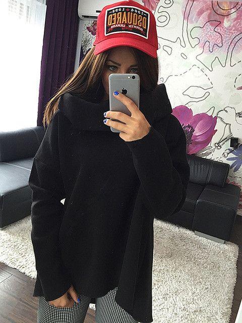 ArtSu Women Winter Hoodies Scarf Collar Long Sleeve Fashion Casual Style Autumn Sweatshirts 2017 S-XL EPHO80216