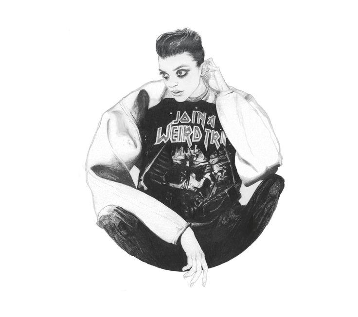 Fashion Illustration - Paula Barclay Design. Drawing then edited in Adobe Photoshop