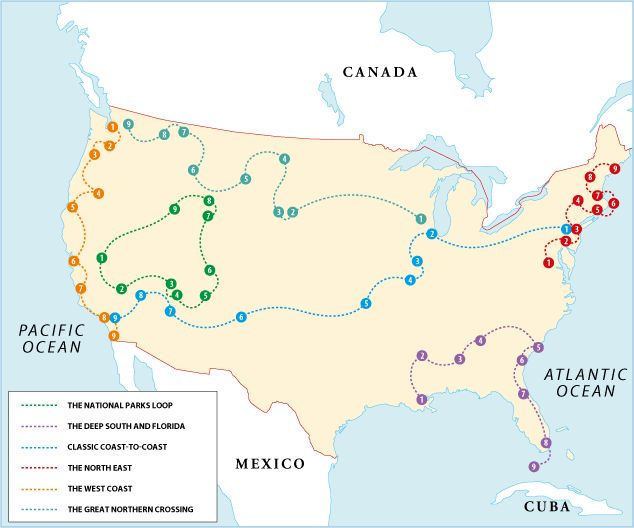 Rough Guides USA Itinerary. The following itineraries span the entire length of this incredibly diverse country, from the historic cities of the east, to the deserts of the Southwest and the jaw-dropping Rocky Mountains. Given the vast distances involved, you may not be able to cover everything, but even picking a few highlights will give you a deeper insight into America's natural and historic wonders.