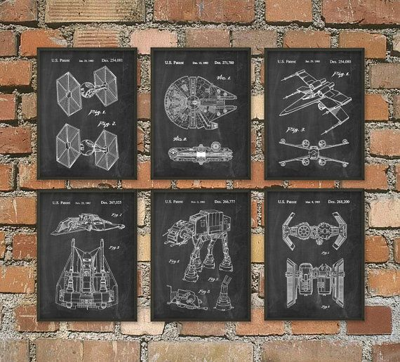 Star Wars Patent Prints Set Of 6 Millennium Falcon Bedroom Wall Art Movie Patents Science Fiction By Quantumprints
