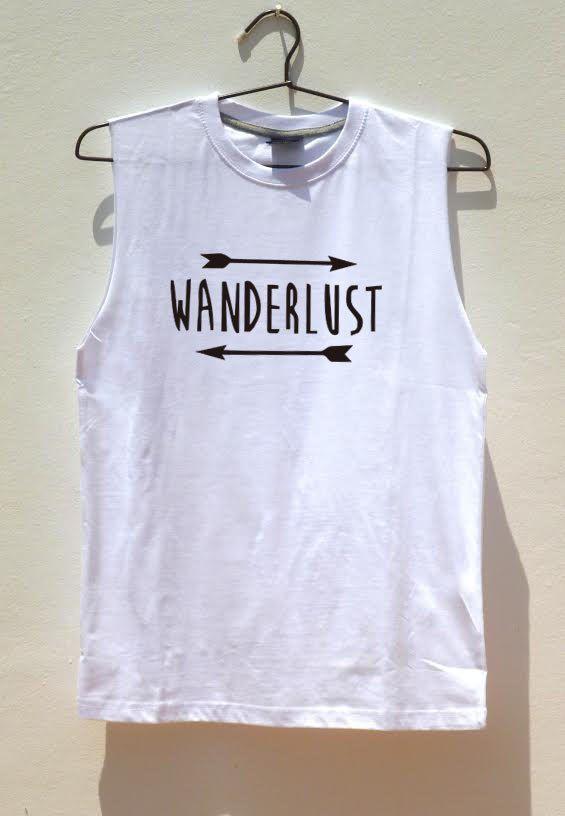Wanderlust Sleeveless shirt Muscle Tank adventure by FavoriTee