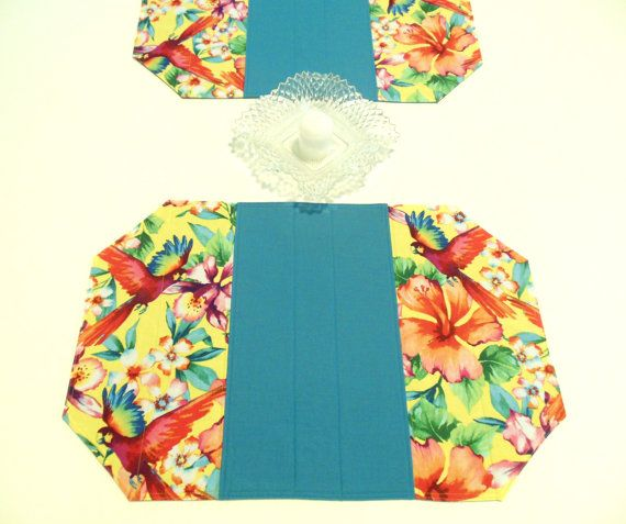 Tropical Placemats Teal Yellow Quilted Parrots Flowers Set of 2 Mats on Etsy, $19.50