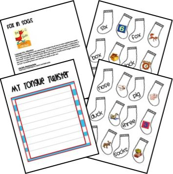Fox in Socks Unit Ideas and Printables   -  Pinned by @PediaStaff – Please Visit http://ht.ly/63sNt for all our pediatric therapy pins