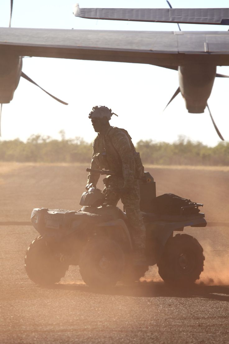 A Combat Controller from No. 4 Squadron unloads an All Terrain Vehicle from a C-130J Hercules at the Delamere Range Facility in the Northern Territory during Exercise Pitch Black 2014. CPL David Gibbs Copyright © Commonwealth of Australia, Department of Defence