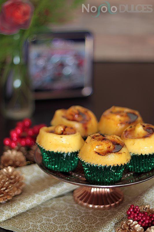 Receta de cupcakes de naranja y vino blanco y crema catalana. Sabor de Navidad para un bocado muy tierno y delicioso