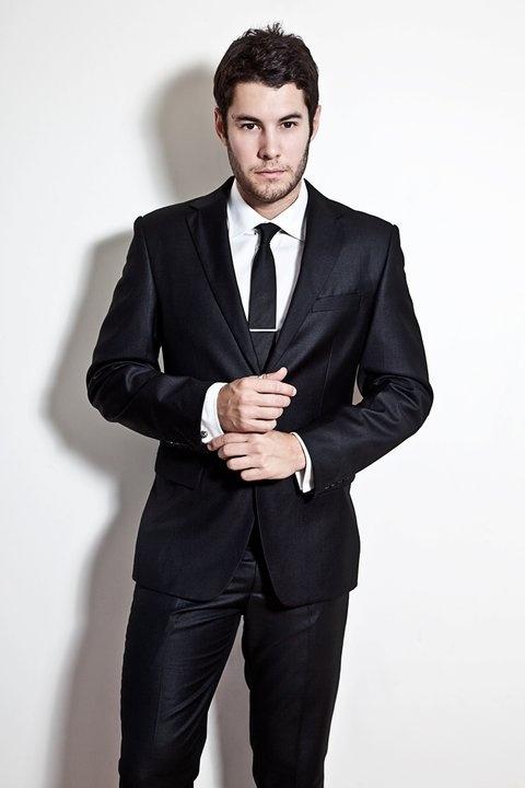 White Super Slim shirt- $99.99  Black Slim Tie- $59.99  Silver Tie clip- $29.99  Black Gloss belt- $59.99  Black Super Slim Suit- $399.99