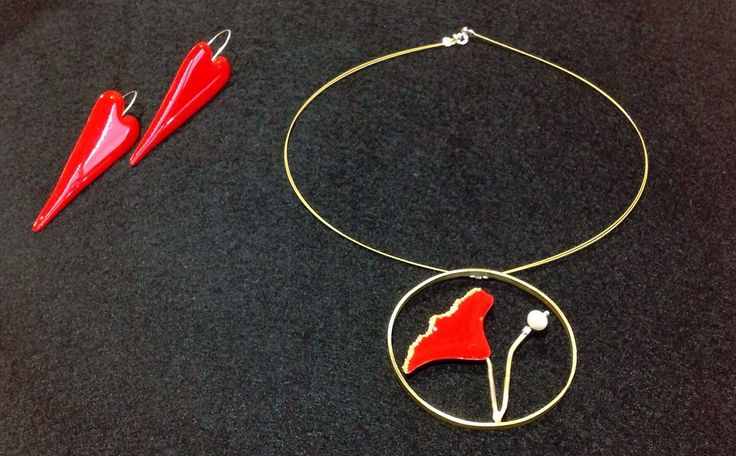 #kolie #skoularikia #red #kokkino #paparouna #kardies #flower #hearts #necklace #earrings