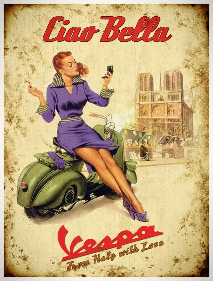 Ciao Bella Vespa: Vintage Posters, Girls Illustrations, Vespas Girls, Scooters Girls, Vintage Illustration, Vintage Pinup, Pinup Girls, Pinup Art, Pin Up Girls