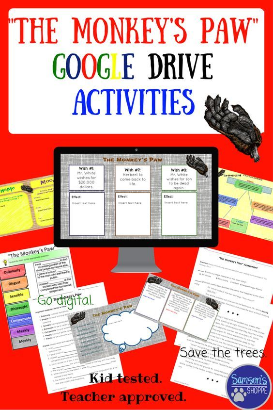 The Monkey's Paw is a short story that tests fate. This unit includes both digital and hard copies of resources that you can use with this short story. Included is an adaptation of The Monkey's Paw, vocabulary and activities, a plot diagram, comprehension questions, sequencing chart, mood and theme chart, wish chart, as well as an assessment.
