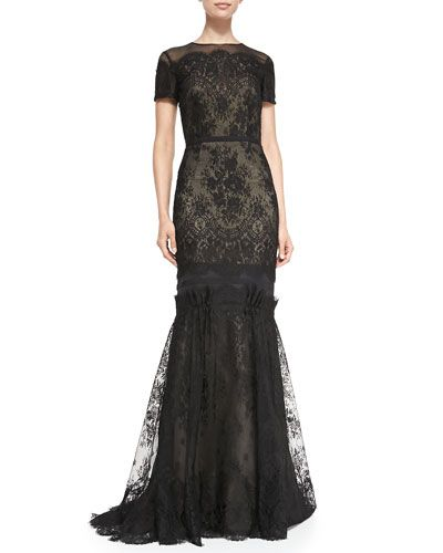 Carolina Herrera Short Sleeve Tiered Lace Evening Gown @Neimans