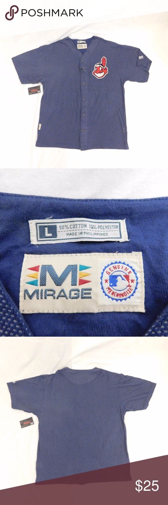 VTG Mirage MLB Indians Baseball Jersey Large USED Vintage Mirage MLB Genuine Merchandise Cleveland Indians Button Front Blue Stitched Logo Baseball Jersey | MENS size Large | Great condition, no flaws  For Discounts Follow Me on Instagram @407vintage !  KEYWORDS/TAGS: ultra boost , Tommy Hilfiger , Polo Sport , Nautica , NMD , supreme , kith , bred , adidas , banned , french blue , stussy , Maestro , vintage , kaws , solefly , trophy room , box logo , gamma blue , retro jordan , steal…
