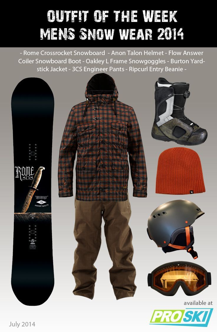 Visit store.snowsportsproducts.com for endorsed products with big discounts. OUTFIT OF THE WEEK - Mens Snow Wear 2014 available at PROSKI #snowwear #snowboard #snowjacket #gear #snowgoggles #snowboardboots #beanie #helmet #snowtrends #outfit #rome