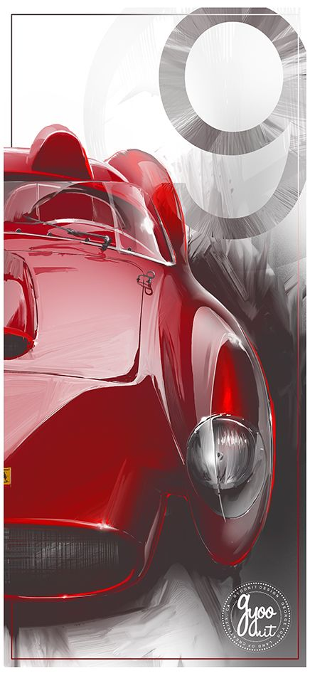 "1957 Ferrari Testarossa 13"" x 19"" Ultra Satin Photo Paper 2"" Authentic Silver Foil GYOONIT Emboss *Printed to Order Ship via USPS"