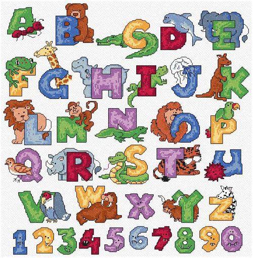 free corss stitch alphabet | Maria Diaz Designs: ANIMALS ALPHABET (Cross-stitch chart)