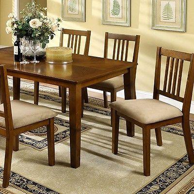 Furniture of America Burkley Seven-Piece Transitional Dining Set - Dark Oak NEW