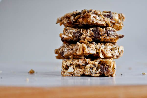 Easy & Healthy Peanut Butter Granola Bars....I just popped these in the oven.  I used only steel cut oats virus rolled, some dried currants, whole almonds, chopped walnuts, quinoa and some semisweet chocolate.  Can't wait to try them out!