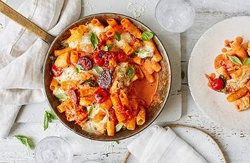 Creamy chicken, tomato and chorizo pasta bake