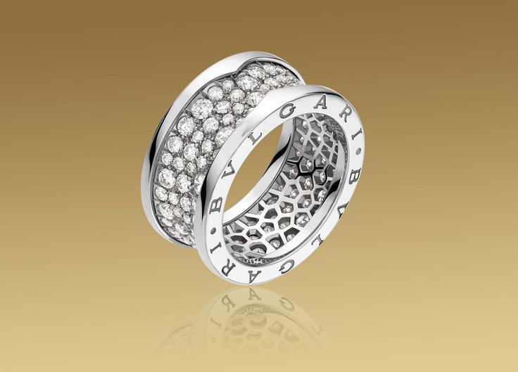 bulgari bzero1 ring in 18kt white gold with pav diamonds price varies based