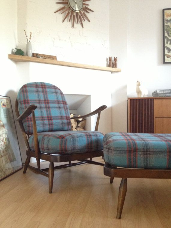 Ercol Windsor 203 Easy Chair   Footstool   Reupholstered. 34 best ercol images on Pinterest