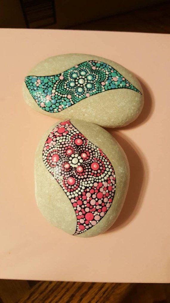 Hand Painted Rocks Painted Stone Rock Art Mandala Stones Mandala