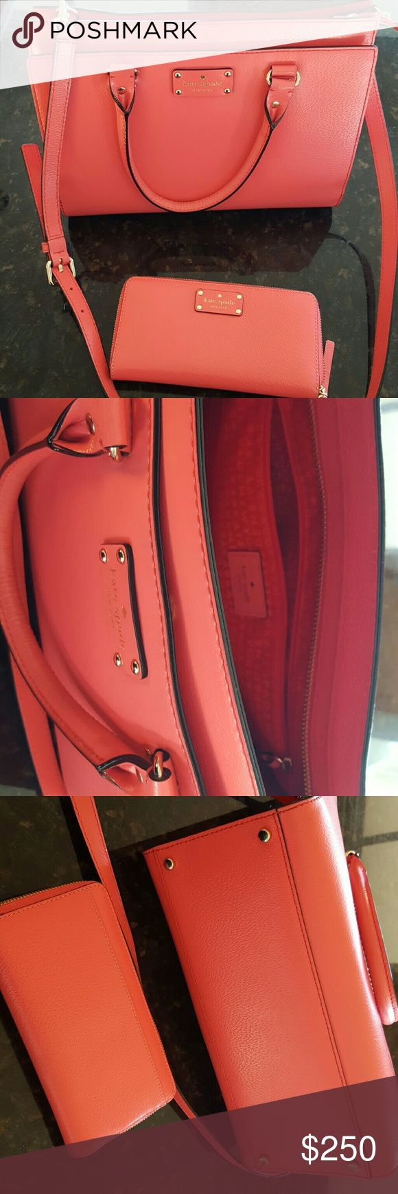 KATE SPADE Handbag and Wallet Beautiful Flamingo Color Kate Spade Set, used only a couple of times! kate spade Bags