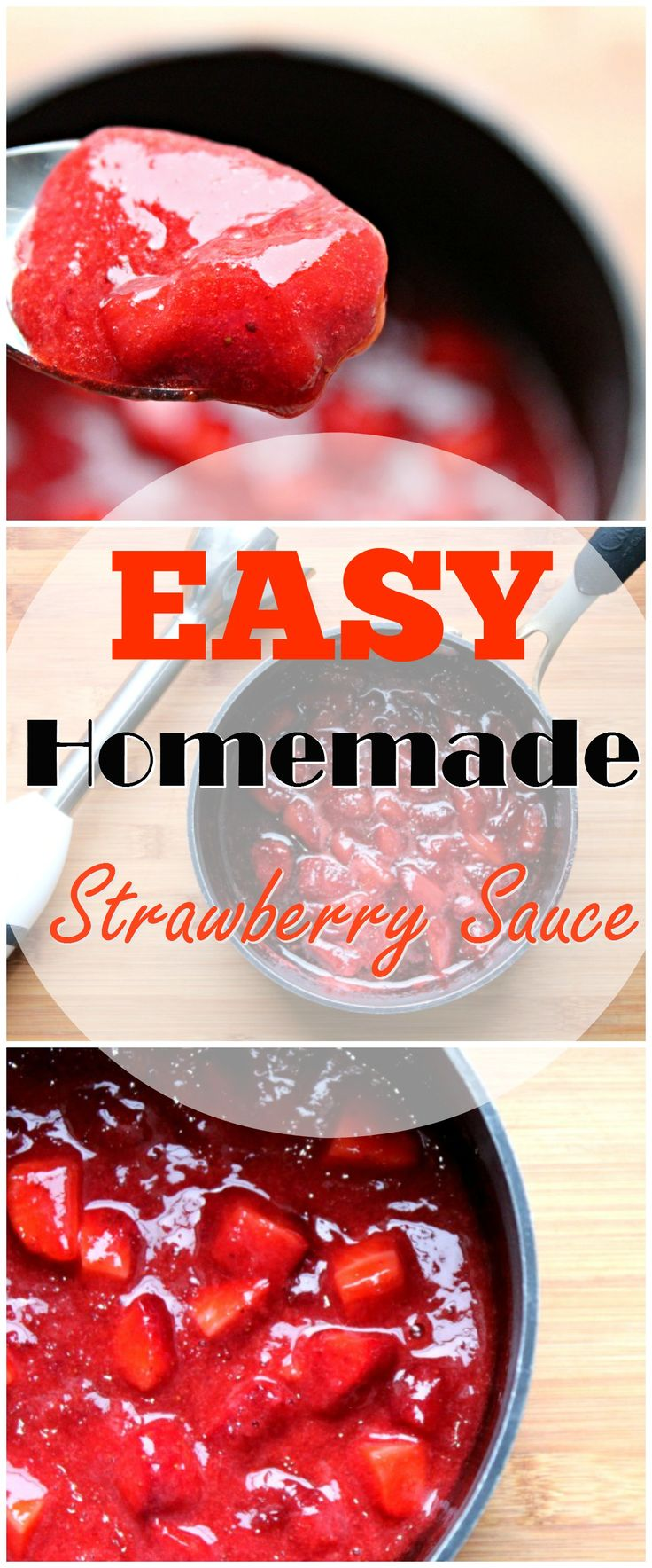 This EASY Homemade Strawberry Sauce is the perfect finishing touch for ice cream, angel food cakes or cheesecake! What will you try it on?