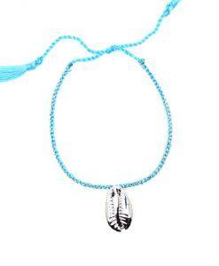 Bracelet coquillage argent bleu