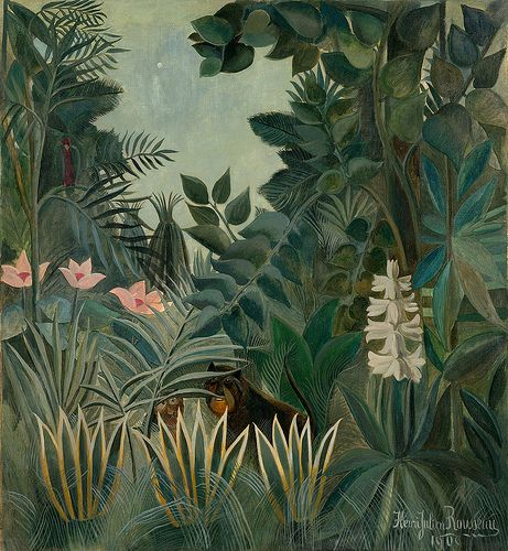 Henri Rousseau: The equatorial jungle (1909)   Henri Rousseau was a French Post-Impressionist painter in the Naïve or Primitive manner.