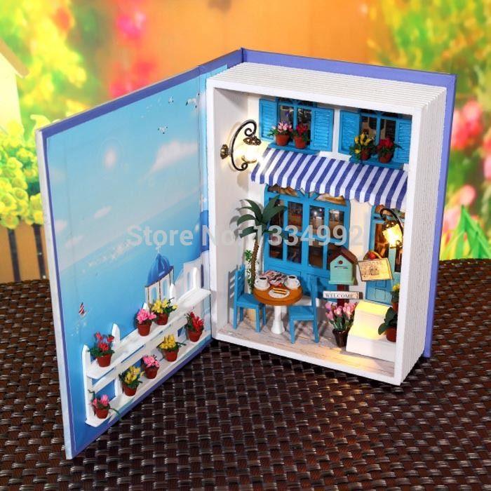 2014 nieuwe model diy kits boek stijl houten poppenhuis miniatuur met de hand gemaakte montage hobby speelgoed poppenhuis w/licht en meubels diy gift(China (Mainland))