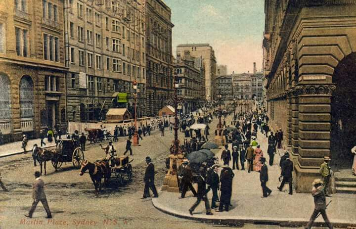 Martin Place in Sydney in 1900 (colourised).A♥W