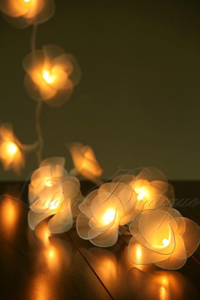 20 CREAM Nylon Rose Flower LED String Fairy Lights Lanterns Wedding Decor  Floral