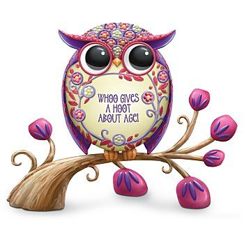 Floral Design In Red And Purple Owl Figurine: Whoo Gives A Hoot About Age!