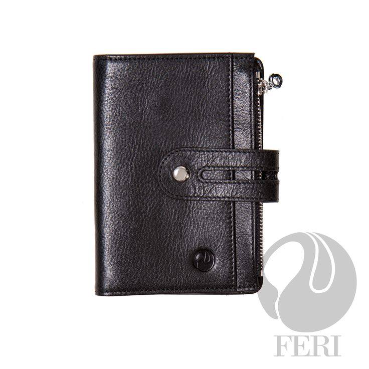 Warren Wallet Black C$319 - Small brown wallet - Made from high grade leather - Single fold closure with snap - 1 zippered slot - 1 Transparent window for ID or photos - 6 Credit card slots - 1 Bill compartment - 4 hidden compartments #leather goods