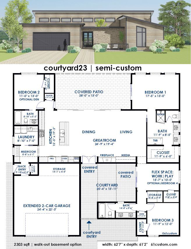 Image Result For Contemporary House 3 Bedroom 3 Bath Courtyard House Plans Contemporary House Plans Custom Home Plans