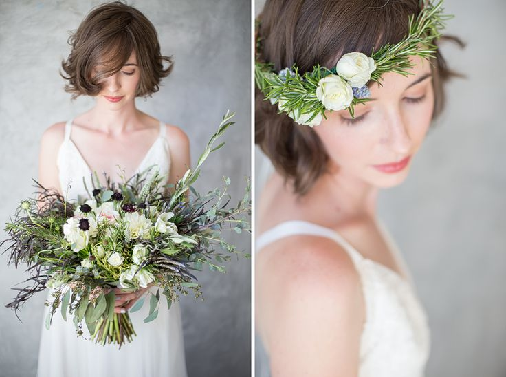 Rosemary spray rose lavender flower crown, rustic bridal bouquet. Juliet garden rose, parrot tulips, scabiosa, olive branches, lavender, agonis, eucalyptus by Seahorse Floral and Event Design.