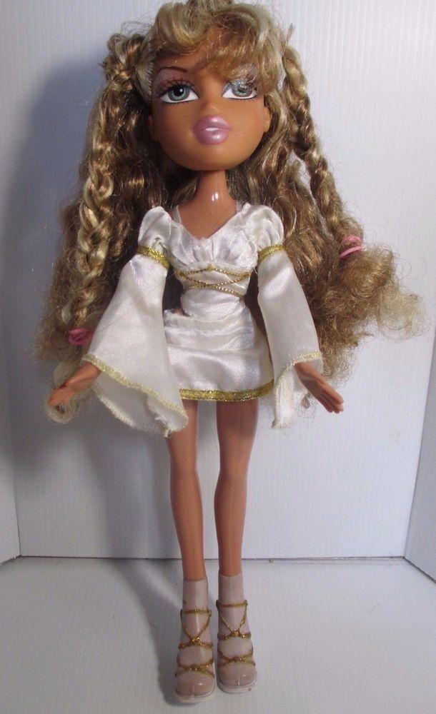 Bratz Doll Curly Long Blonde Hair White Skirt Top Wings Bratz