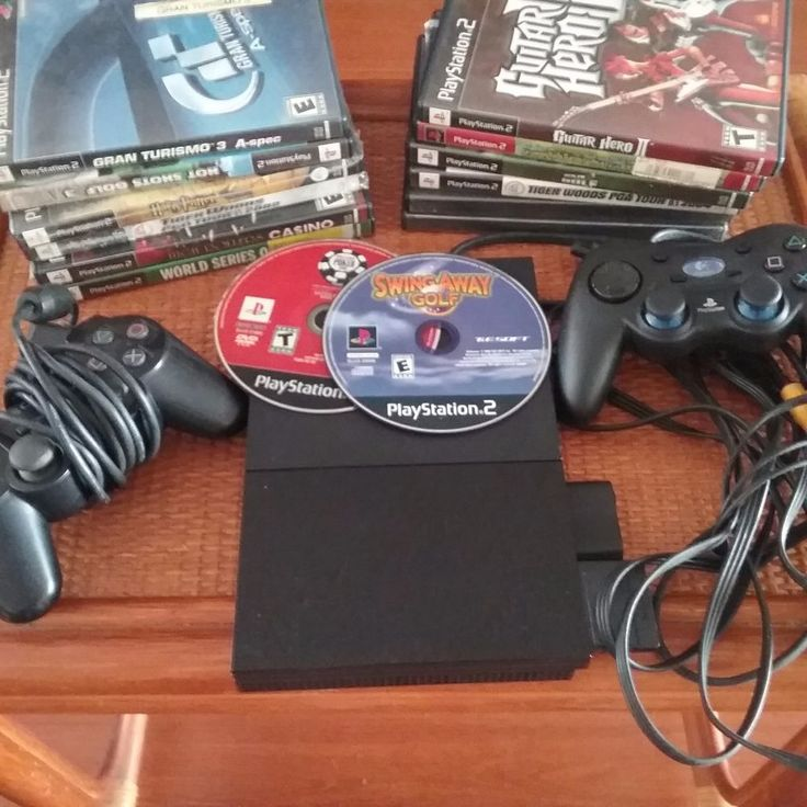 Sony Playstation 2 PS2 Slim Bundle 2 Controllers 1 memory  card  plus 14 games. #Sony