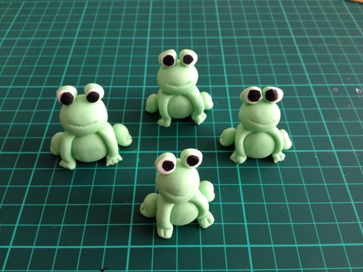 Baby Frogs - colored vanilla fondant cupcake/cake toppers