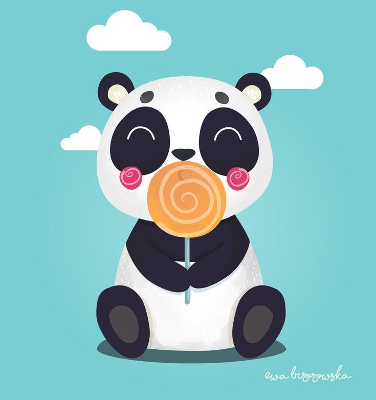 LolliPanda – Ewa Brzozowska  Illustration of cute panda with lollipop. Great for children textile.