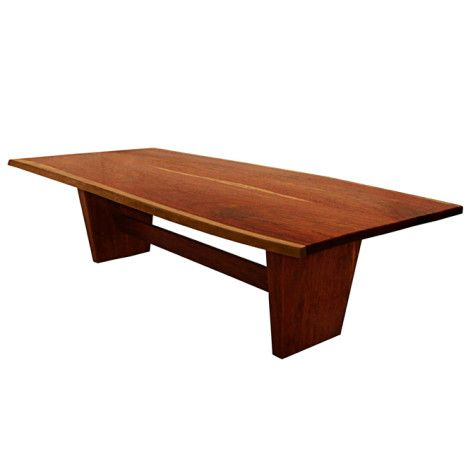 Naturally Timber 'Torino' double-slab dining table - Mackay Cedar, three-quarter view #1
