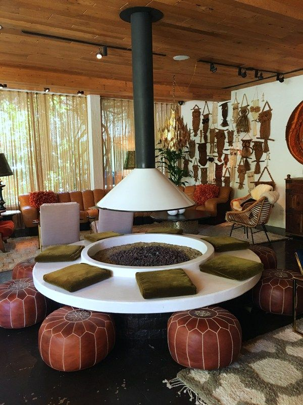 The Parker Palm Springs, indoor firepit