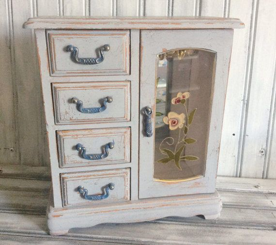 Rustic Shabby Chic Jewelry Box Painted And by LetaPearlEmporium