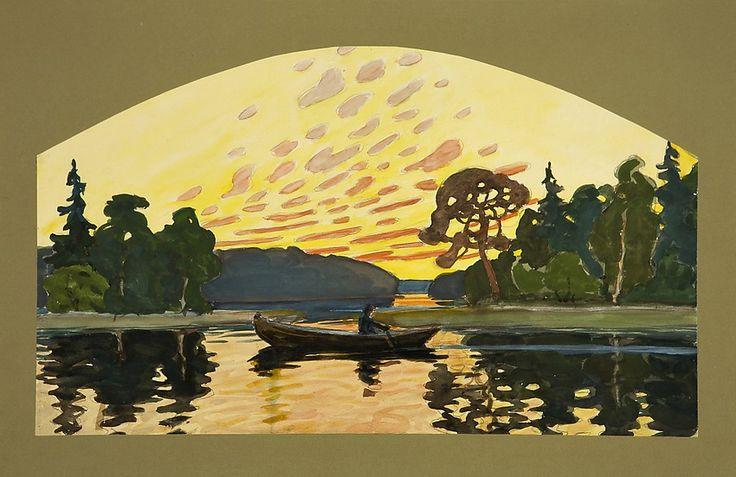 Jonas Heiska (1873-1937) Sunset Glow - Finland