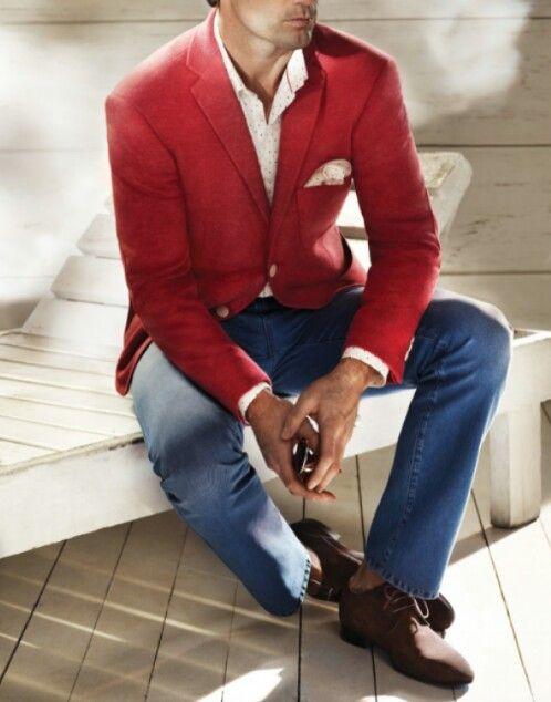 red blazer combination for men