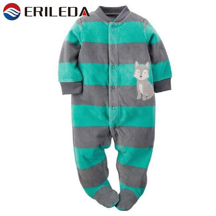 Baby Pagliaccetti A Righe Footed Fleece Pagliaccetto Per Neonato Ragazza Autunno Inverno Pagliaccetto Del Bambino Della Tuta Con Il Piede Del Bambino Abbigliamento Invernale